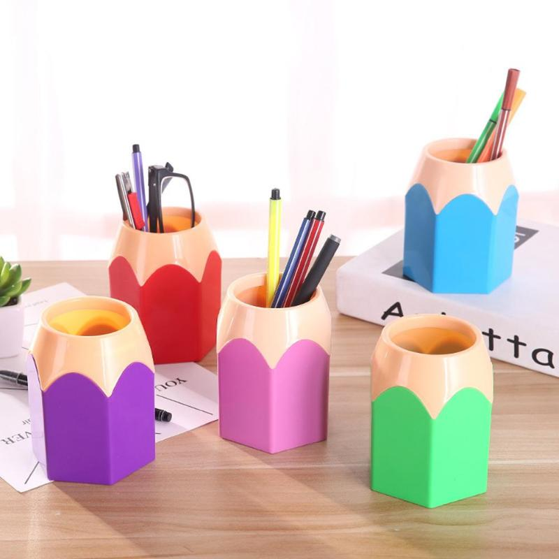 Creative Pen Vase Pencil Pot Makeup Brush Holder Pencil Stand Holders Stationery Desk Container Office Supplies