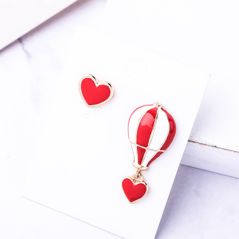 Romantic Hot Air Balloon Red Color Enamel Earring For Women Asymmetry Personalized Heart Wedding Gift Jewelry