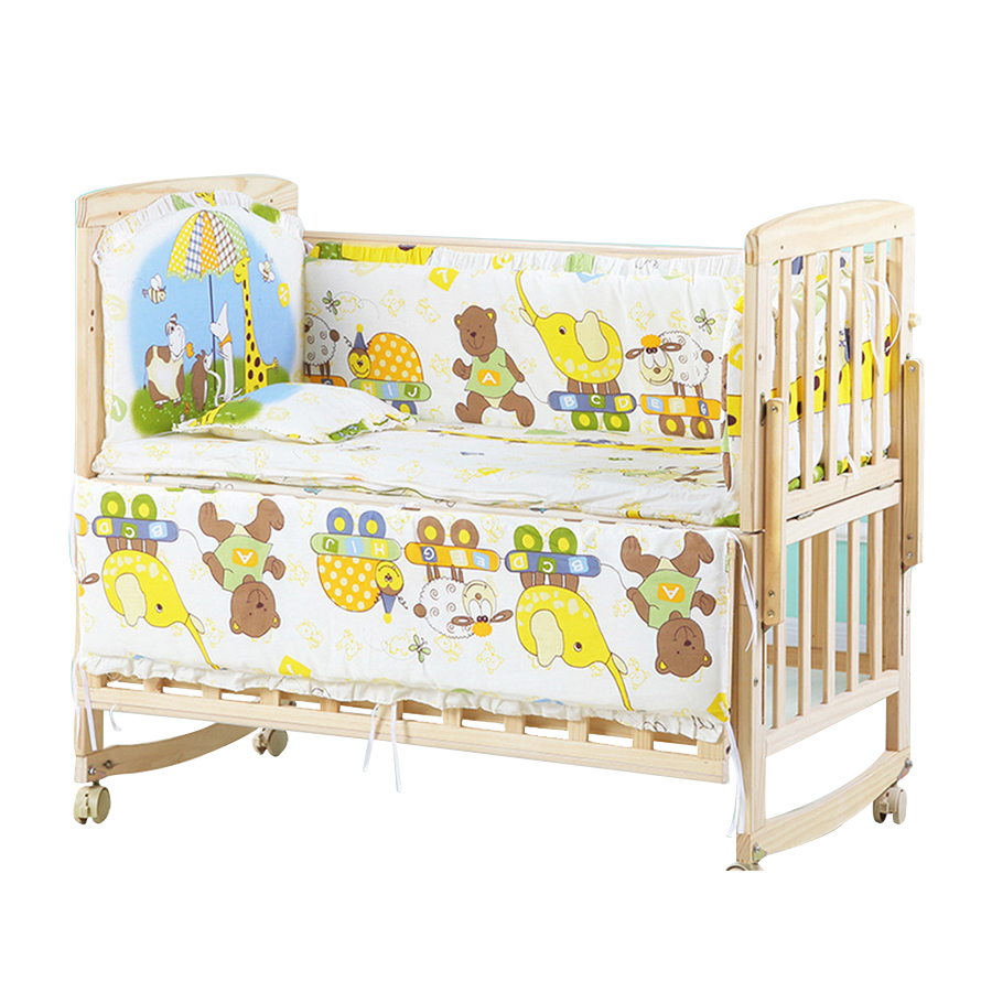 5pcs/set Crib Bed Bumper Set Cotton Animated Pure Cotton Children's Bed Protector Bedding Set Removable And Washable