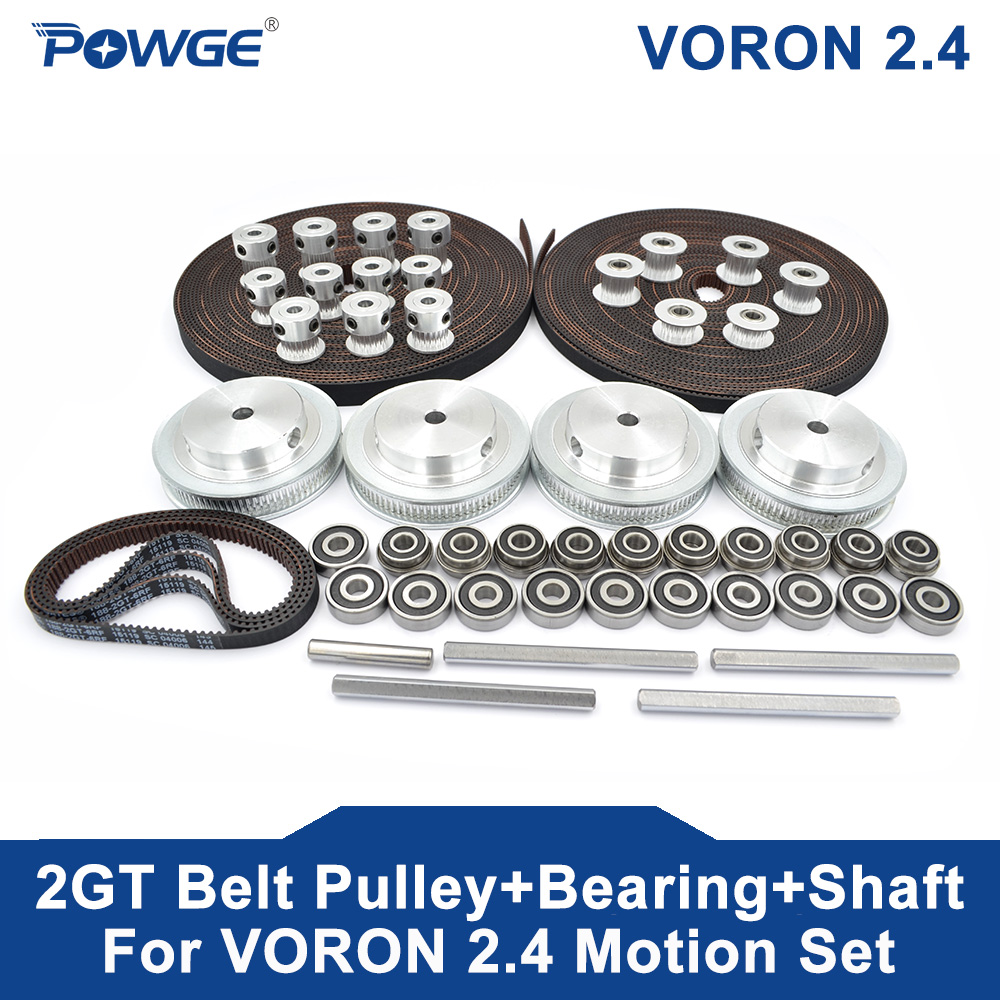 POWGE VORON 2.4 Set GT2 LL-2GT RF Open Timing Belt 2GT 16T 80T 20T Tooth Pulley 188-2GT