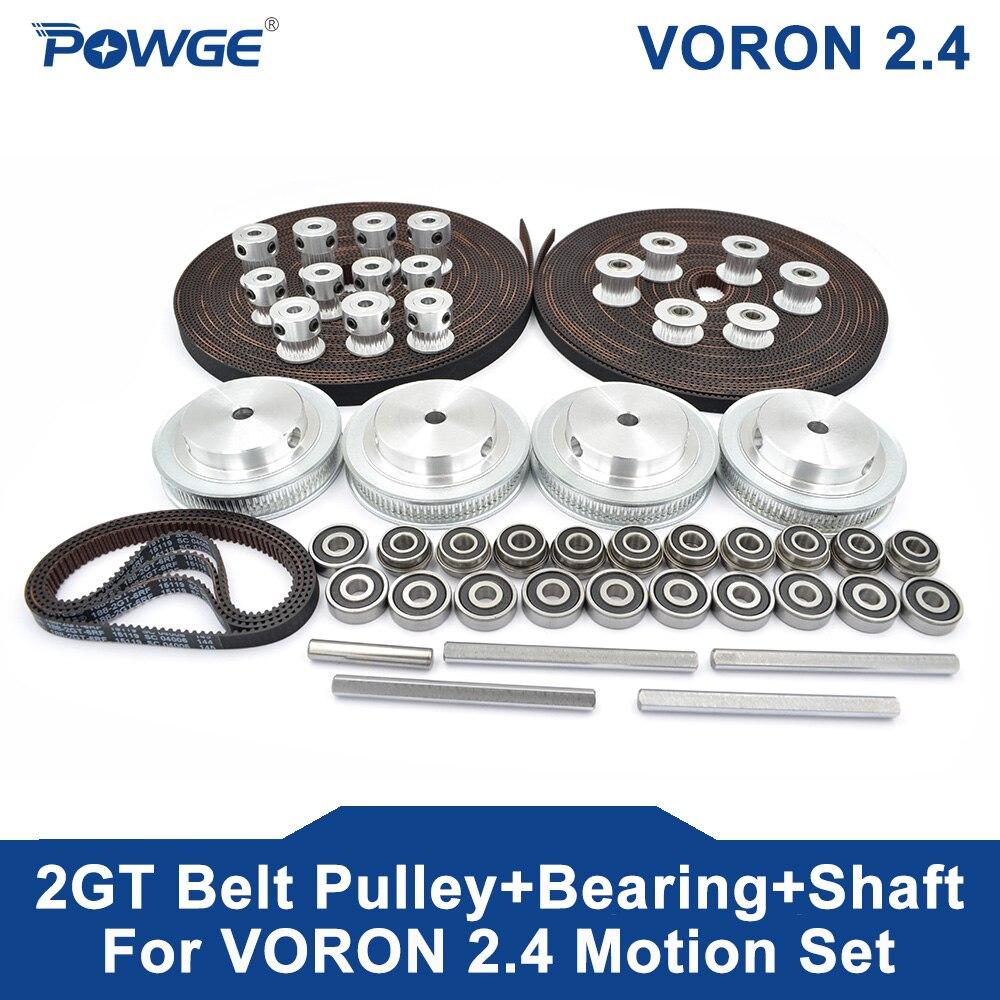 POWGE VORON 2,4 GT2 LL-2GT RF abierta Correa 2GT 16T 80T 20T diente polea 188-2GT cojinete del eje 625 F695 2RS movimiento partes