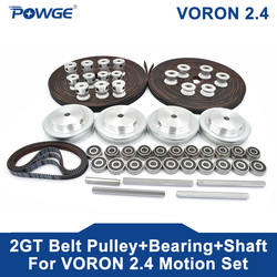 POWGE VORON 2.4 Set GT2 LL-2GT RF Open Timing Belt 2GT 16T 80T 20T Tooth Pulley 188-2GT Shaft Bearing 625 F695 2RS Motion Parts