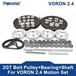 POWGE VORON 2.4 Set GT2 LL-2GT RF courroie de distribution ouverte 2GT 16T 80T 20T poulie à dents 188-2GT roulement d'arbre 625 F695 2RS pièces de mouvement