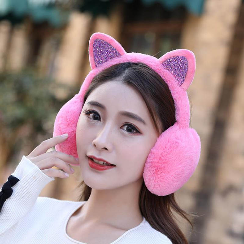 Calymel Women Kids Girl Lovely Cat Earmuffs Shiny Warmers Kitty Fur Earmuff Fluffy Soft Earlap Ear Cover Glitter Sequins Arrival