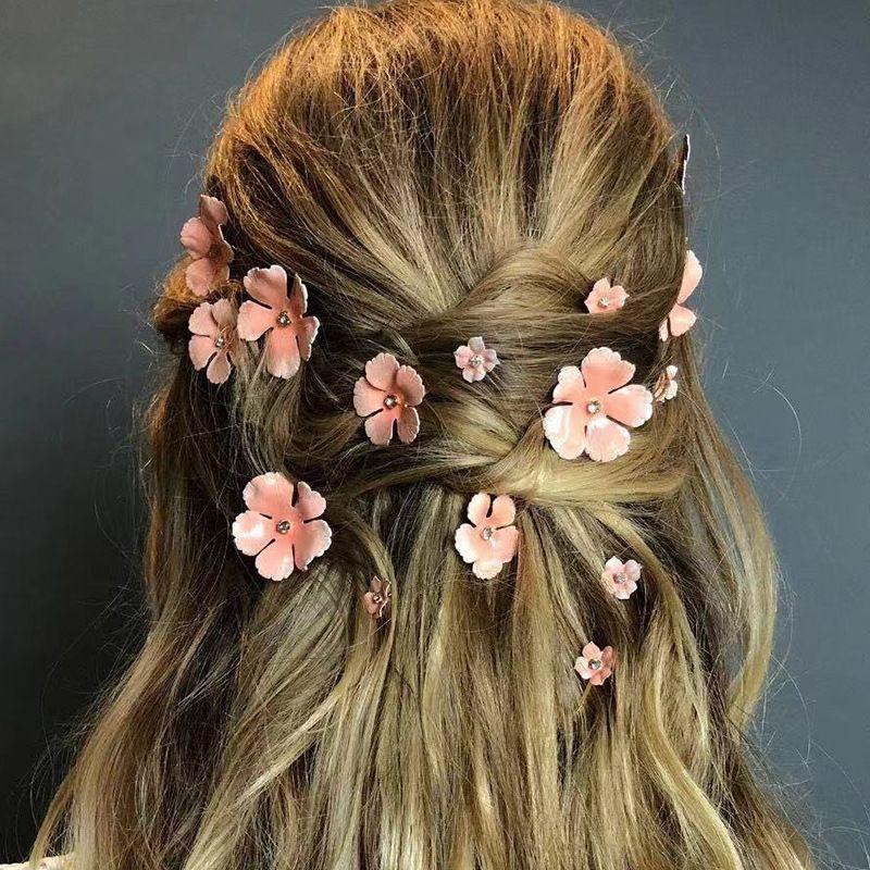 1Set Pink Flower Hair Clips Girls Rhinestones Cystal Hairpins Fashion Hair Pins Bridal Wedding Hair Accessories For Women