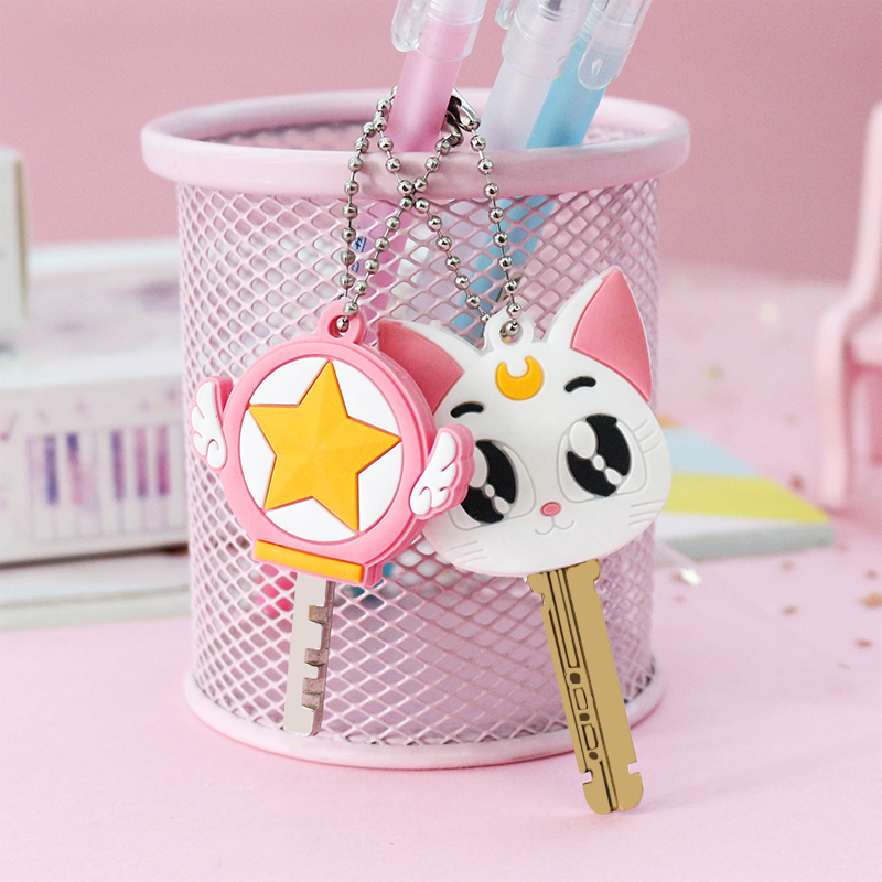 2pcs/set  Cute Cat Cartoon Key Cover Cap Silicone Anime Pet Keychain For Women Bago Bulldog Keychain For Child Gift Porte Clef