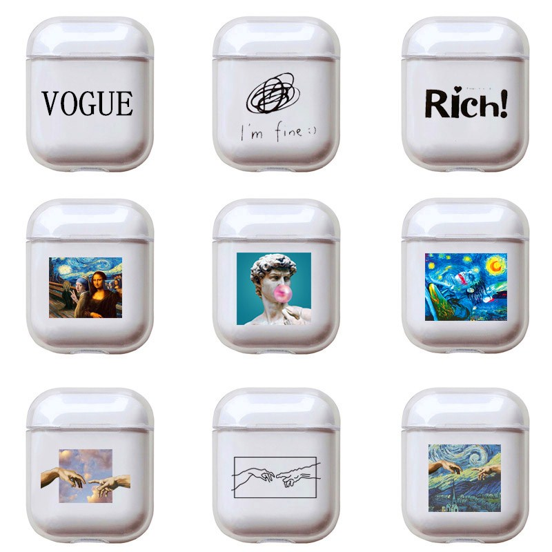 Cartoon Letters Hard Case For Apple Airpods 2 Cover Luxury Transparent Bluetooth Earphone Case Simple Headset Box For Airpod Pro