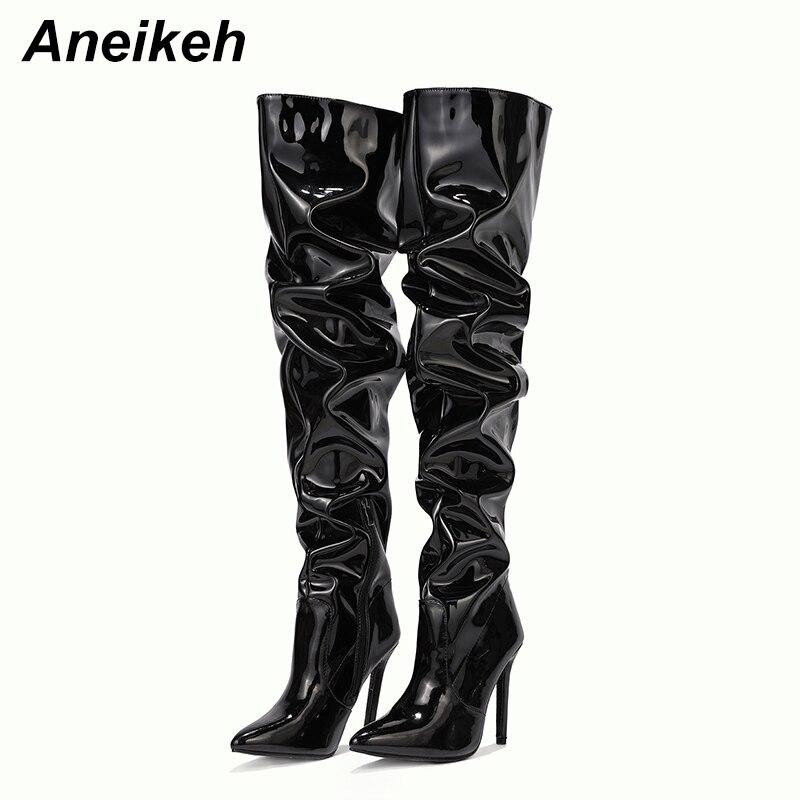 Aneikeh-Botas hasta la rodilla de charol para mujer, botines hasta la rodilla, color liso, estilo Chelsea, Otoño, cremallera, punta estrecha, tacones finos, costura, color negro, talla 35-42, moda informal