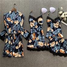 JRMISSLI 4 Pieces Set pijamas women Satin Sleepwear Pijama Silk Sleep L