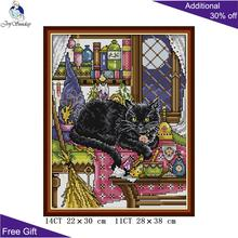 Joy Sunday Black Cat Needlework DA240 14CT 11CT Stamped and Counted Home Decoration Black Cat