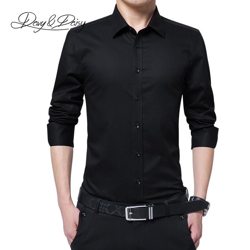 DAVYDAISY Plus Size 8xl 7xl 6xl Men Shirt Long Sleeve Shirts Men Causal Non-Iron Shirt Slim Fit Autumn White Shirts DS-263