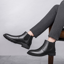 New Winter Boots black men leather shoes mens pointed toe dress high quality formal slip on Leather High Top *Z08539