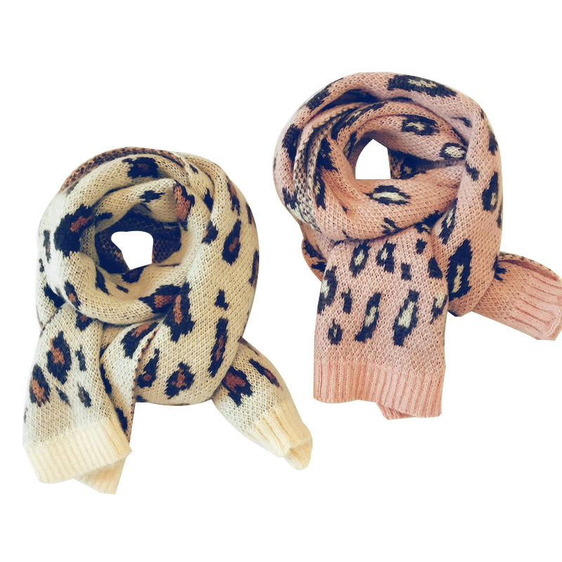 2019 New Colored Leopard Baby Scarf For Girls Boys Children's Scarves Winter Warm Knitting Wool Long Toddler Scarf