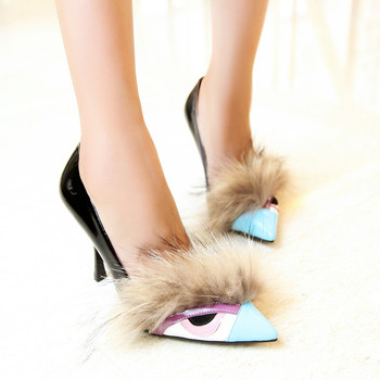 Womens Pointed Toe Fur Monster Match Colors Patent Leather Stilettos High Heel Pumps Low Top Shoes C590