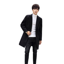 Black Trench Coat Men Full Length Men Coats Winter Jacket Fashion Casual Chaqueta Hombre Invierno Palto Bestselling 2019 GG50dy(China)