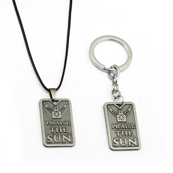 Game Dark Souls Tag Pendant Keychain Solaire of Astora Geometric Child Toys Praise The Sun Keyring Men Car Accessory llaveros image