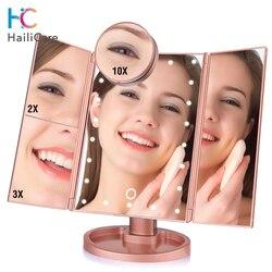 Зеркало для макияжа с 22 LED сенсорным экраном и увеличительным стеклом 1X 2X 3X 10X, складное настольное зеркало 4-в-1 с подсветкой, инструмент для з...