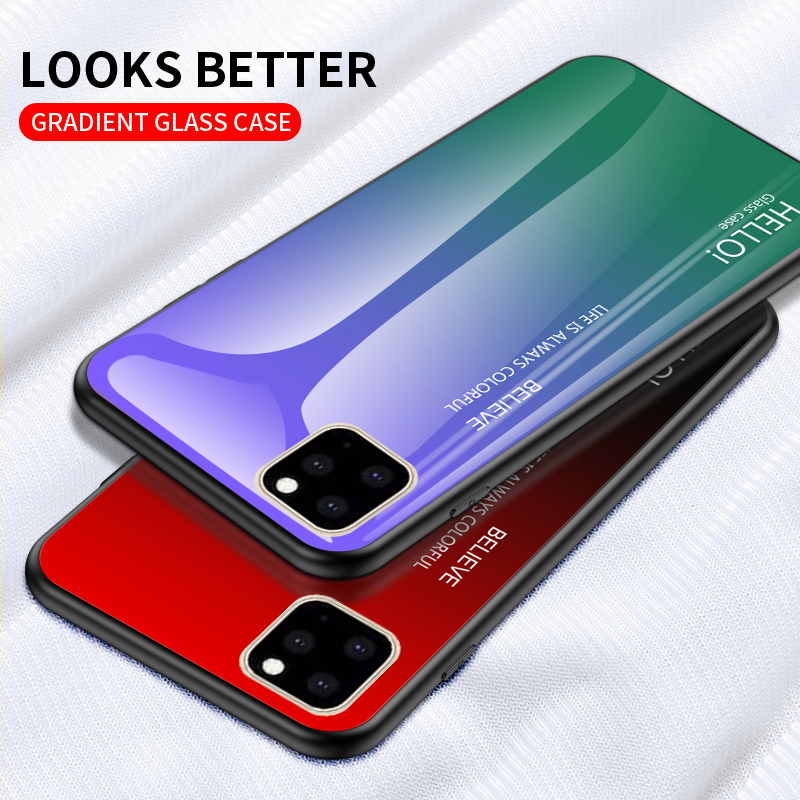 Ollyden Gradient Tempered Glass Cases for iPhone 11/11 Pro/11 Pro Max