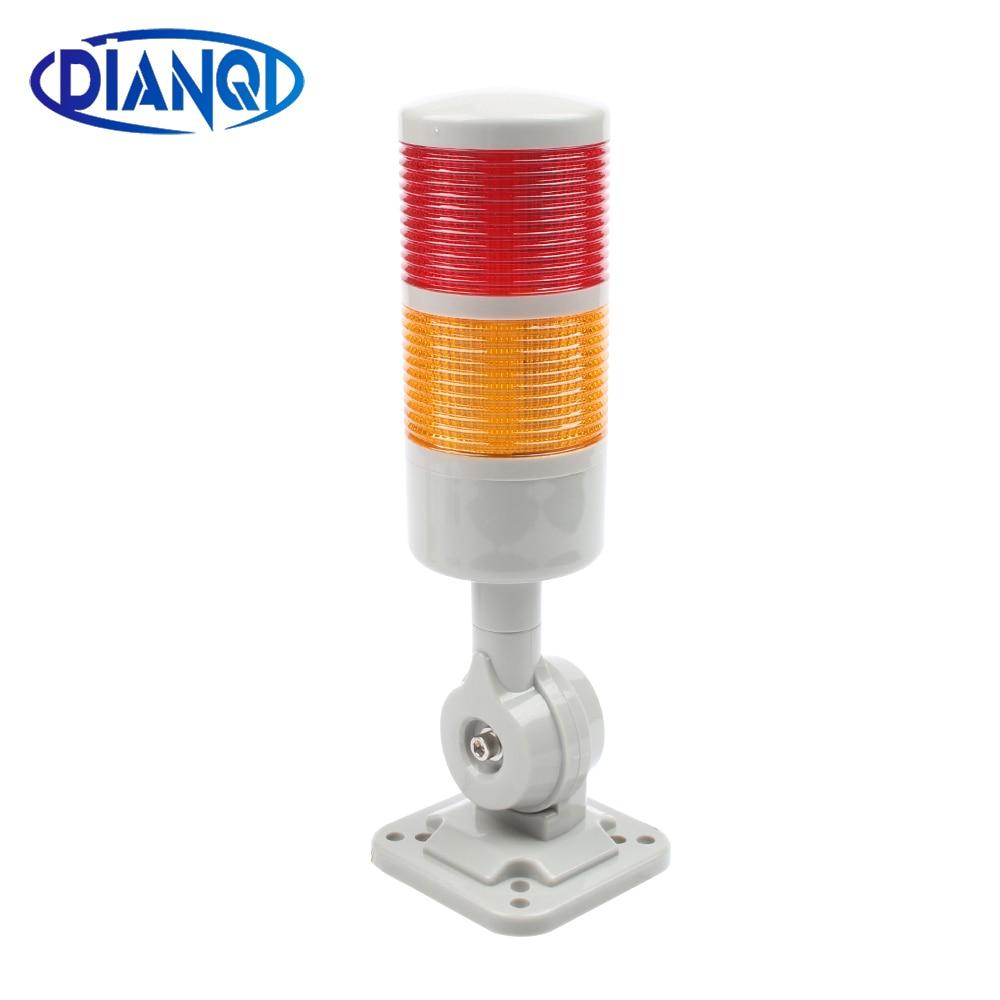 2 Layers Rotatable 180 Stack Light Red Warning Light Industrial For CNC Machine DC 24V 12V AC220V 110V Steady Flashing Light LED