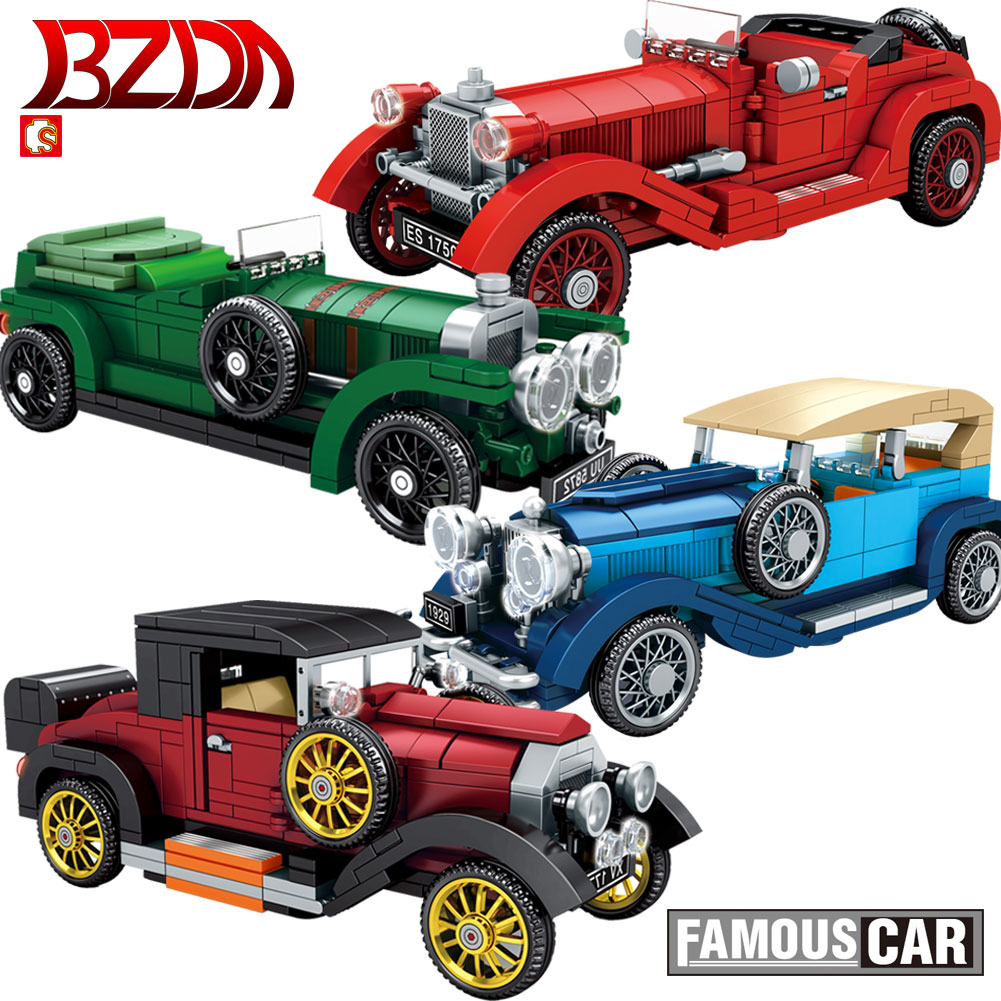 SEMBO Vintage Classic Creative High-Tech Car MOC Building Blocks Vehicle Removable Cars Model Toy  Blocks For Children Toys