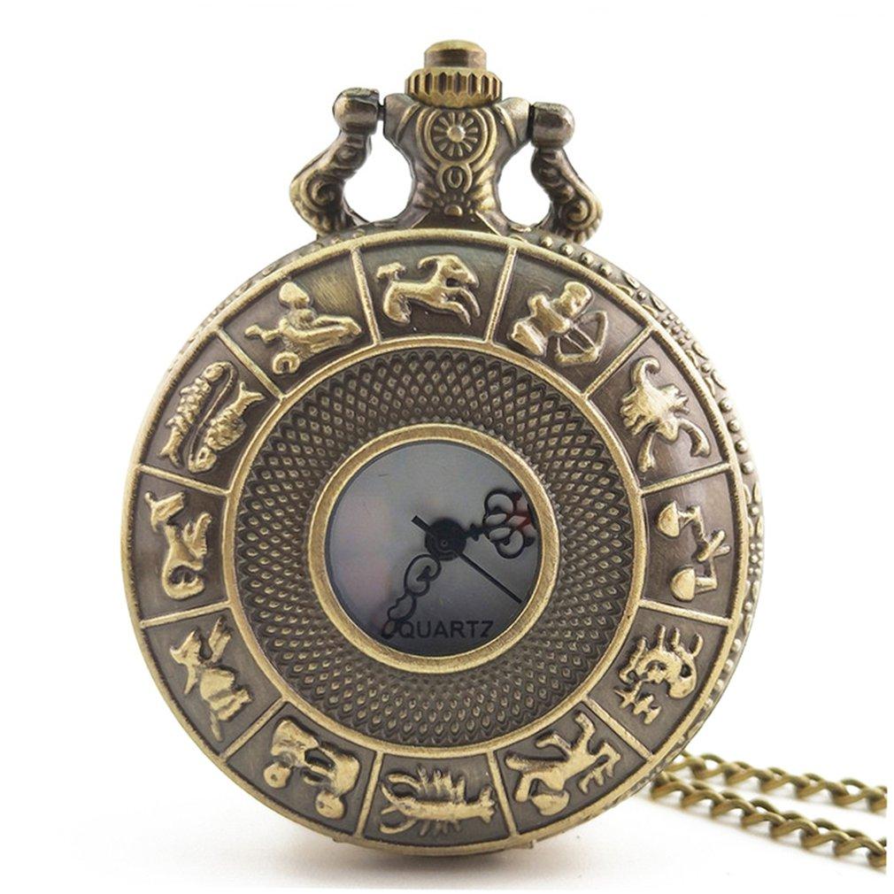 Twelve Constellations Vintage Antique Round Dial Quartz Pocket Watch Necklace Pendant Clock For Mens Womens Best Gifts