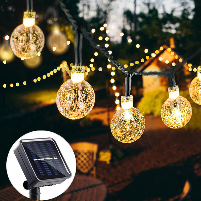 Solar Lifhts 20/50 Crystal Ball 5M/10M LED Garden Gate Courtyard Lamp Farm Villa Outdoor Lighting Holiday Party Decoration