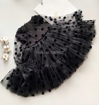 New Year Girls Tube Top Black Dresses Clothes Party Girls Longsleeve lace Princess Wedding Party Dress AG0010