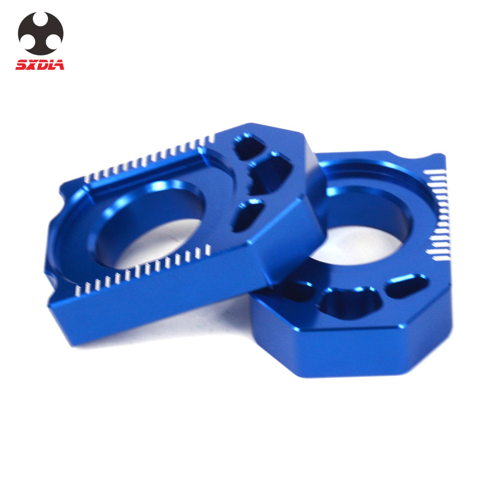 Motorcycle CNC Blue Rear Chain Adjuster Pair Axle Block For Yamaha YZ125 250 YZ250F YZ450F YZ250X YZ250FX WR250F WR450F WR250R X