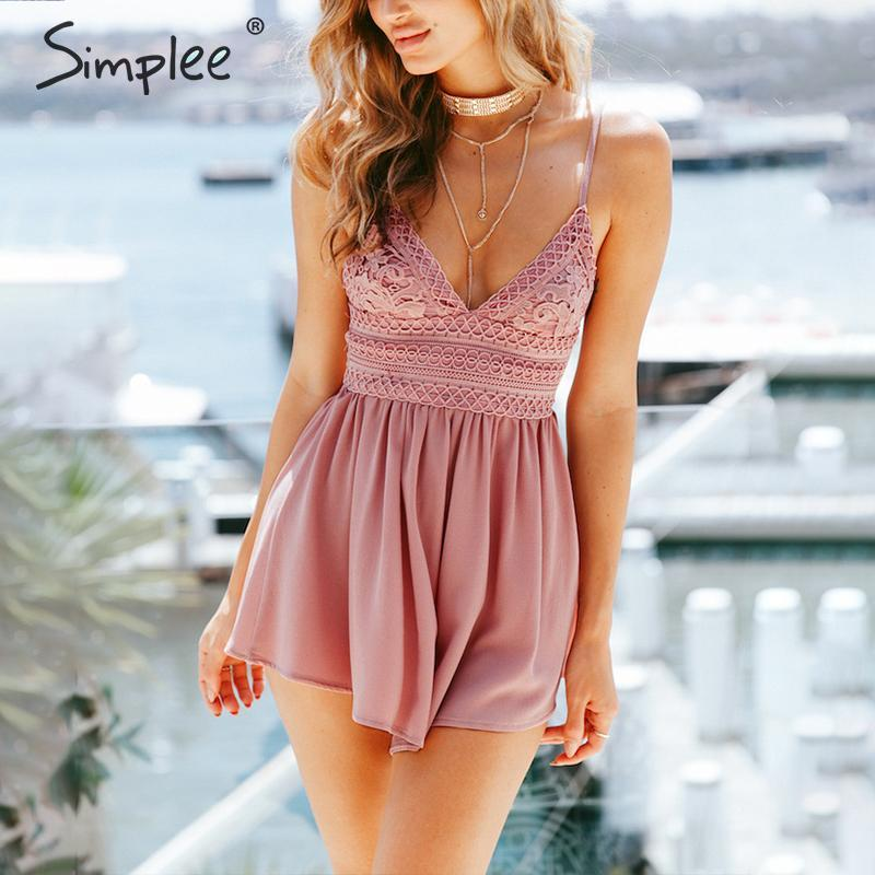 Simplee V Neck Strap Sexy Lace Romper Women Backless Bow Summer Macacao Feminino 2018 Bohemian Print Beach Playsuit
