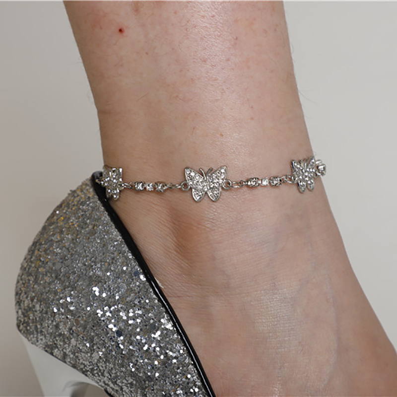 Silver Color Butterfly Anklet CZ Zircon Crystal Barefoot Sandals Foot Leg Bracelet Boho Beach Ankle Bracelets For Women