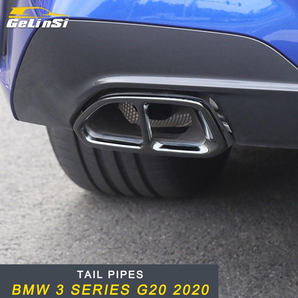 Gelinsi queue tuyaux tuyau d'échappement silencieux cadre couverture garniture autocollant accessoires extérieurs pour BMW 3 série G20 2020 voiture style