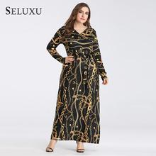 Seluxu 2019 Autumn Plus Size Women Dress V-Neck Floral Print Chain Digital Long Sleeve