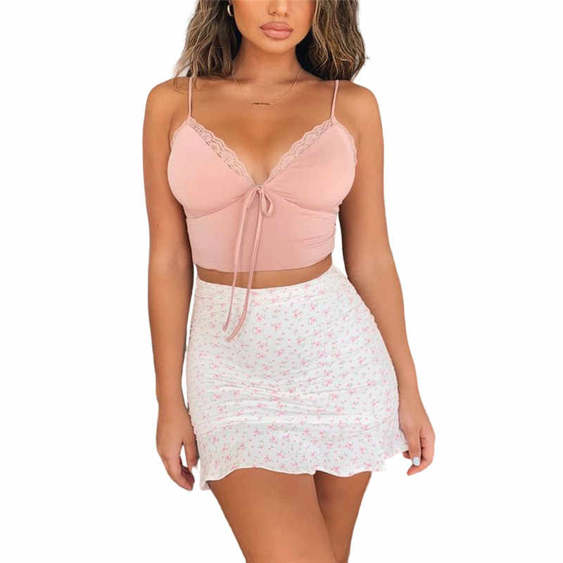 2020 ฤดูร้อนใหม่ผู้หญิงเซ็กซี่ Ruffles ลูกไม้สลิง Backless Off Shoulder Crop TOP MINI กระโปรง Beach Holiday PARTY ชุด