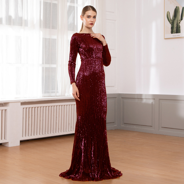 O Neck Sequined Party Dress Maxi Dresses Floor Length Elegant Champagne Gold Sequin Dress Gown Autumn Winter 2019 2