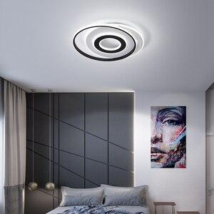 Image 3 - LedLamp rodada lustre lustres Iluminação Lustre Moderno Preto e Branco para Sala de estar Quarto Cozinha lâmpada do teto Lustre