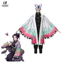 ROLECOS démon tueur Anime Cosplay déguisement Kochou Shinobu femmes déguisement Kimetsu no Yaiba Cosplay pour Halloween tenue papillon(China)