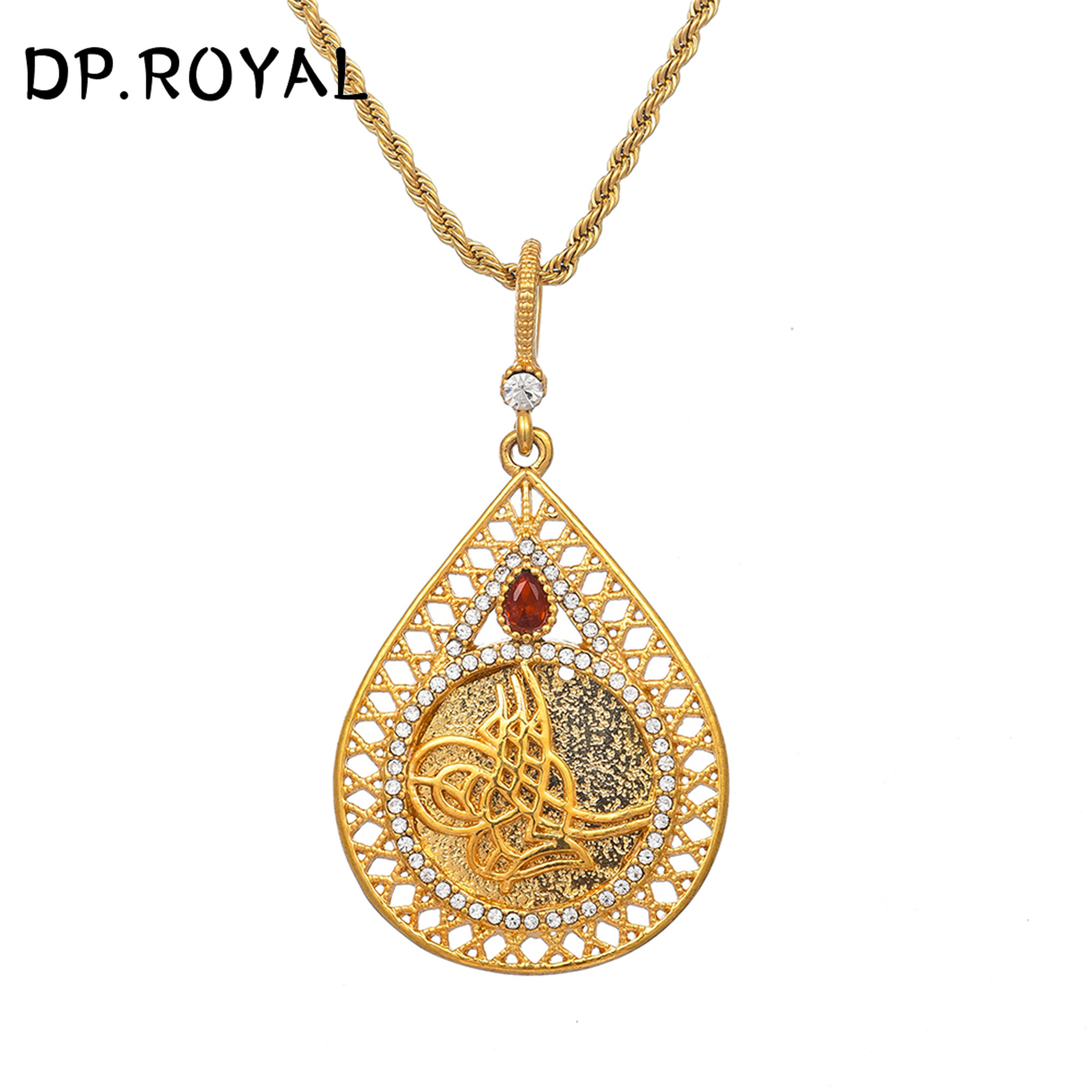 Rhinestone Coin African Arabian Indian Middle Eastern Turkish Pendant Necklace