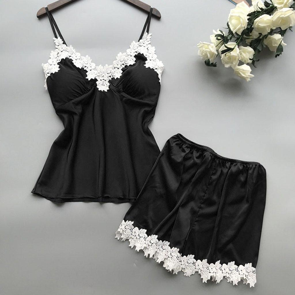 Women's Sleepwear Sexy Satin Pajama Set White Lace V-Neck Pyjamas Sleeveless Cute Top and Shorts Nachtkleding Vrouwen #YJ