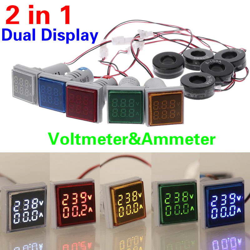 AC 60-500V 0-100A Square 22mm LED Digital Dual Display Voltmeter Ammeter Voltage Gauge Current Meter Led Modules Indicator Light