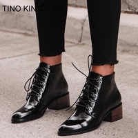 2020 New Women's Ankle Boots Spring Ladies Patent Leather Lace Up Boots Female Square Heels Pointed Toe Casual Woman Shoes