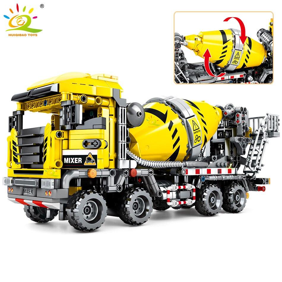 HUIQIBAO 1143Pcs City Agitating Lorry Toys Building Blocks Technic Construction Engineering Mixer Truck Car Figures Bricks Child