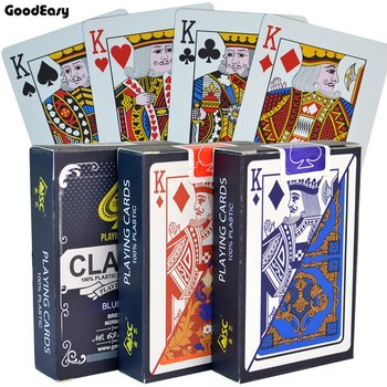 Poker Cards Waterproof Texas Hold'em Playing Cards Plastic Black Jack Game Card Poker Game Board Game Card 100% PVC Dropship 1Pc недорого