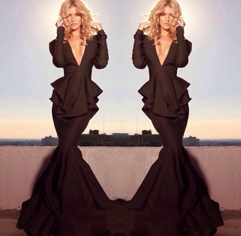 Robe De Soiree Gorgeous Mermaid Sexy Deep V Neck Long Sleeve Pageant Black Formal Evening Gown 2018 Mother Of The Bride Dresses