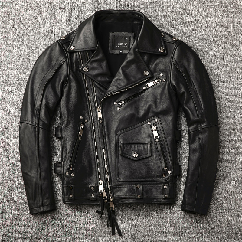 Free Shipping.2019 New Brand Motor Style,cool Punk Plus Size Cowhide Jacket,fashion Genuine Leather Coat.quality Leather Jackets