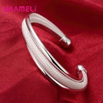 Original 925 Sterling Silver Retro Twisted Open Bracelets For Women Trendy Fashion Bangle Wholesale Unique Jewelry Free shipping 1