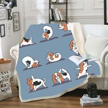 Funny Cartoon Throw Blanket Dogs Cats Pattern Printed For Sofa Velvet Plush Sherpa Fleece Blanket Microfiber Warm Couch Cover недорого