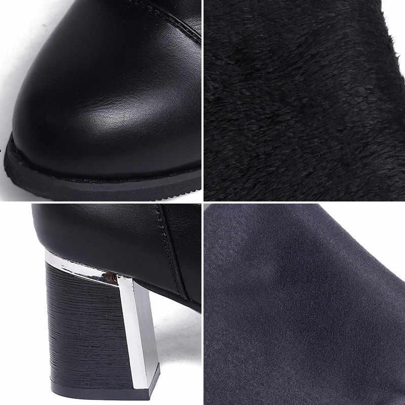 Kadın Sıcak Diz Yüksek Çizmeler Streç PU Kadın Kayma Kısa Peluş Ayakkabı Bayanlar Kadınlar Tıknaz Topuk Moda 2019 kış Platformu