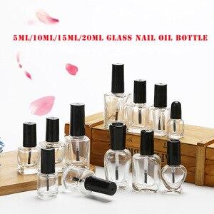 Image 2 - 10 pces 5ml/10ml/15ml/20ml vazio garrafa de vidro transparente do verniz do prego com tampa escova pintura cola recipientes frascos de arte do prego redondo quadrado