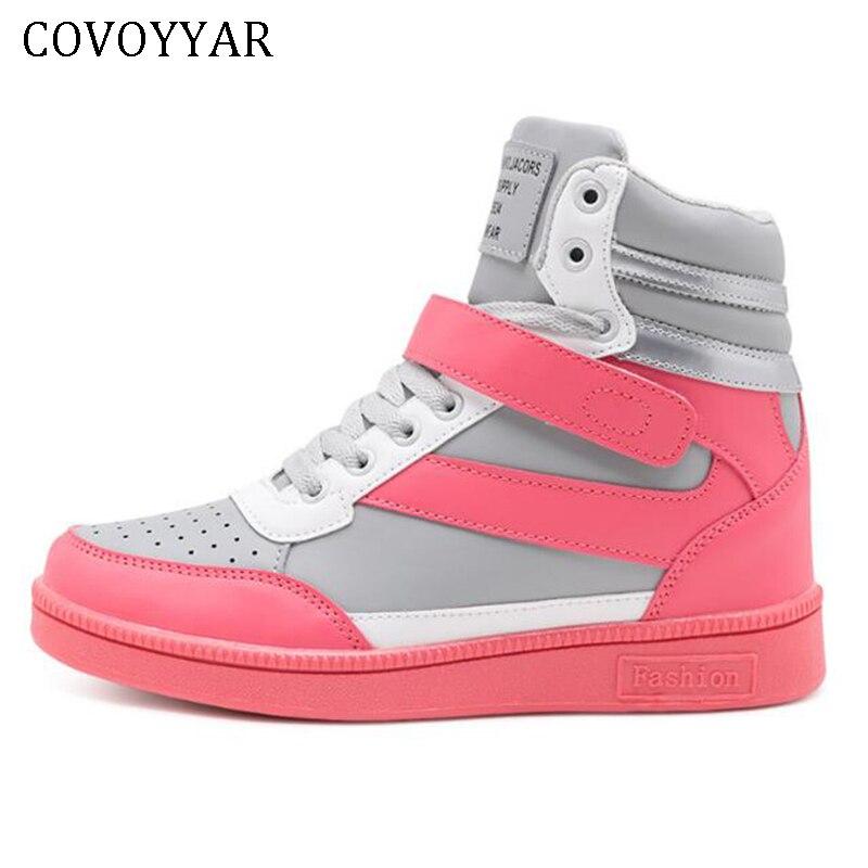 COVOYYAR 2019 Women Fashion Sneakers High Top Hook Loop Lace Up Platform Casual Shoes Hidden Wedge Heel Shoes Woman  WSN205