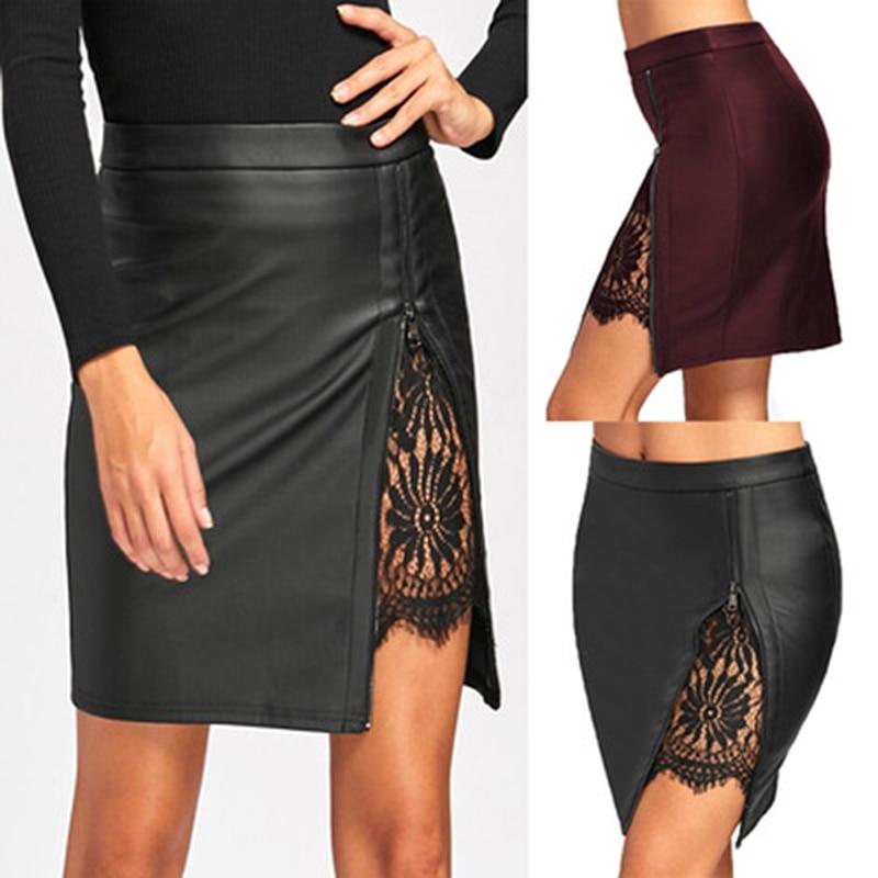 Новинка 2020, Женская юбка, высокая талия, на шнуровке, из искусственной кожи, с карманами, опрятная, короткая, мини, Женская юбка